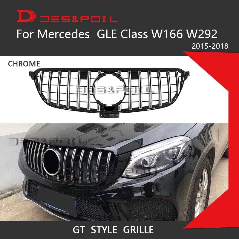 GT R решетка для Mercedes Benz GLE Class W166 W292 Coupe 4matic SUV хромированный передний гоночный гриль 2015-2018 GLE300 GLE320 GLE350