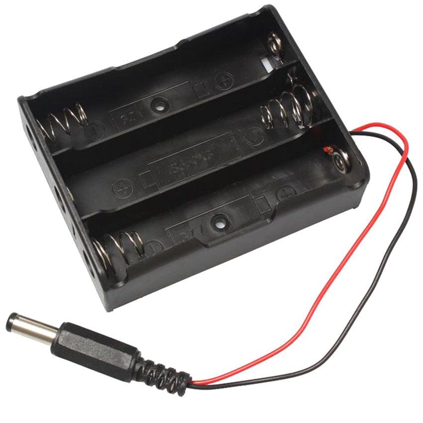 Estuche protector de batería de 11,1 V 18650 con 3 ranuras para muelle DIY caja de almacenamiento de batería con enchufe de CC 5,5*2,1