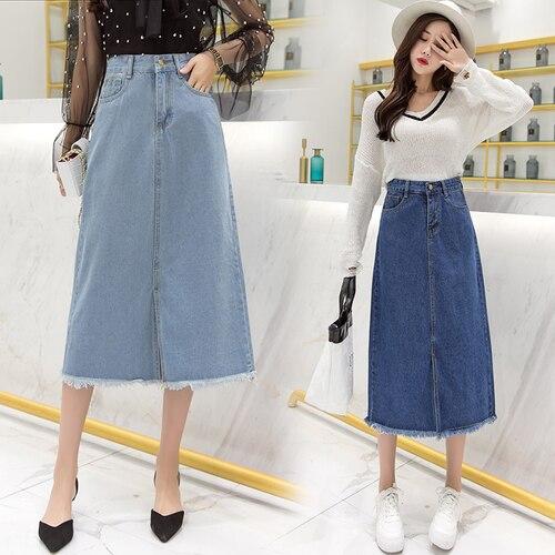 Stinlicher senhoras jeans longo saias de cintura alta guarda-chuva wrapover casual bezerro-comprimento fendas casual plus size saia jean