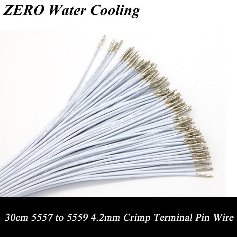 50 unids/lote envío gratis 30cm Color blanco UL1007 18AWG ATX/PCI-E/PSU/EPS macho a hembra de crimpado terminales de cable