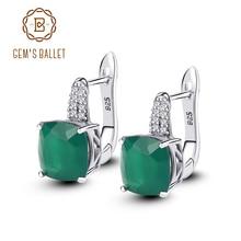 Gems Ballet Natural Green Agate Gemstone Vintage Stud Earrings 925 Sterling Silver Earring Brand Fine Jewelry For Women