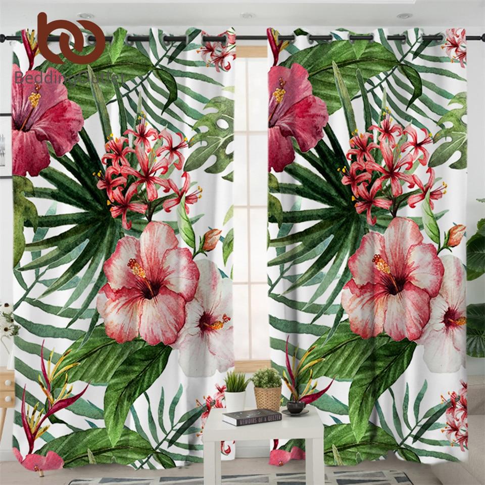 BeddingOutlet flores salón cortinas de habitación hojas rojo verde blanco cortina para dormitorio plantas tropicales ventanas tratamiento cortinas