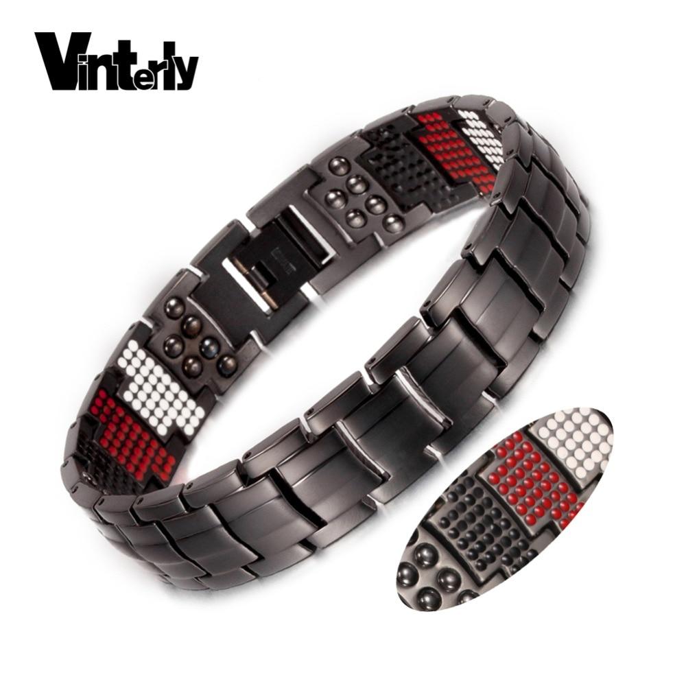 Vinterly Black Bracelet Men Pure Titanium Magnetic Bracelet for Men Punk Health Multi Germanium Wide Bracelets Bangles Jewellery