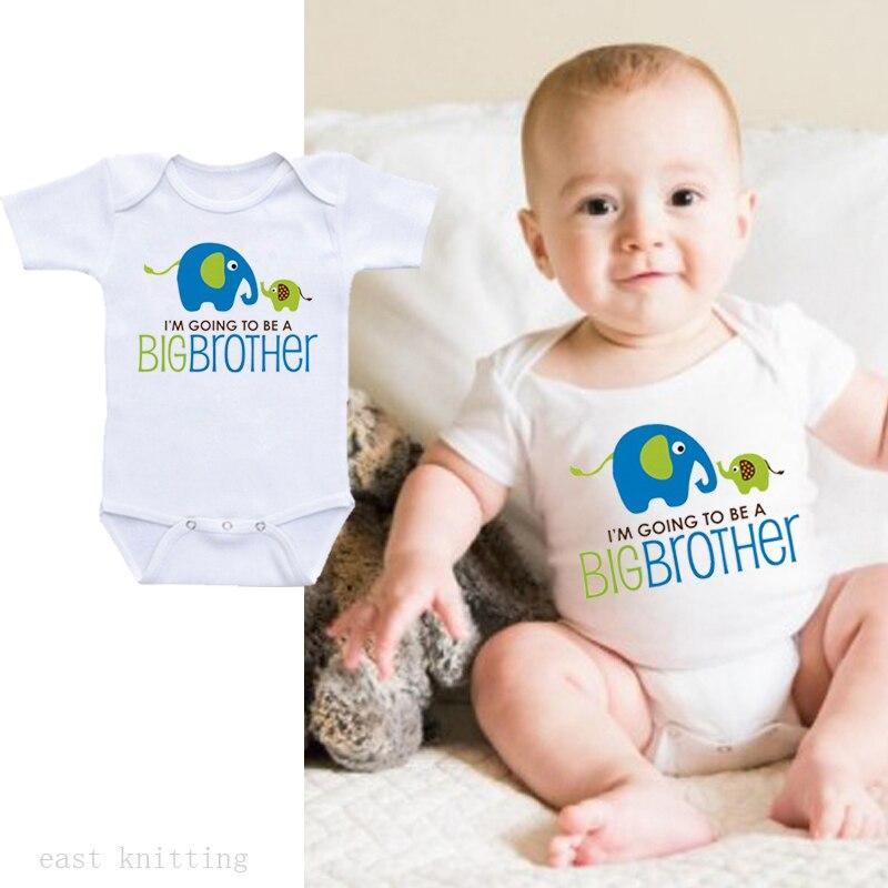 DERMSPE 2019 nuevo Casual recién nacido bebé niña de manga corta letra impresa Im Going To Be A BIG Brother algodón Romper ropa de bebé