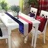 אדום ולבן כחול פסים יוקרה קטיפה יהלומי ראש שולחן מפיות רץ בד שולחן קפה דגל מיטה רץ