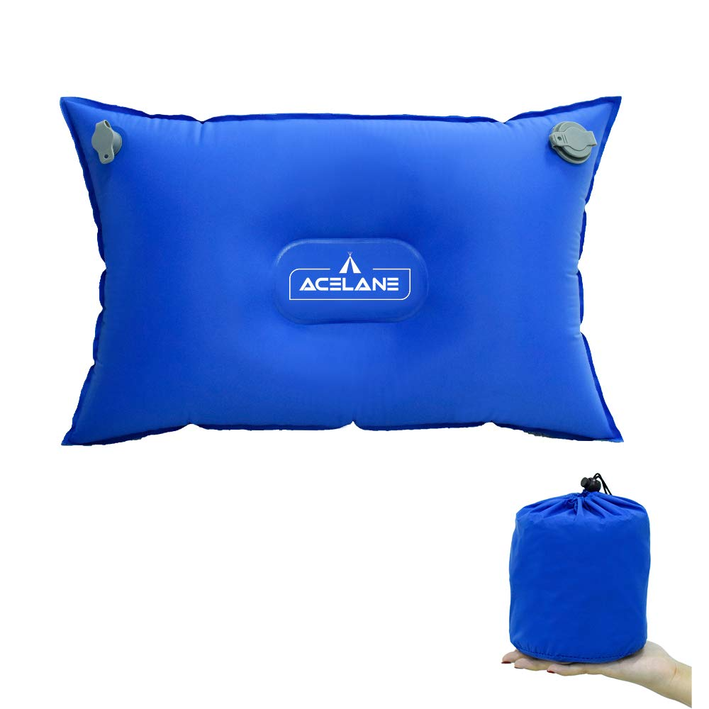 Acelane ultraligero automático almohada inflable colchón de aire almohada para dormir con cojín de relleno de esponja para saco de dormir al aire libre