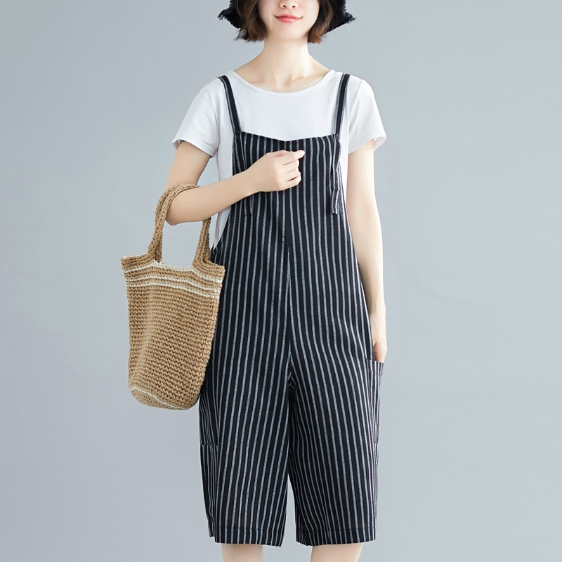 #4009 Summer Striped Sling Jumpsuits Lady Loose Off Shoulder Short Jumpsuit Casual Cotton Wide Leg Playsuit For Women Streetwear