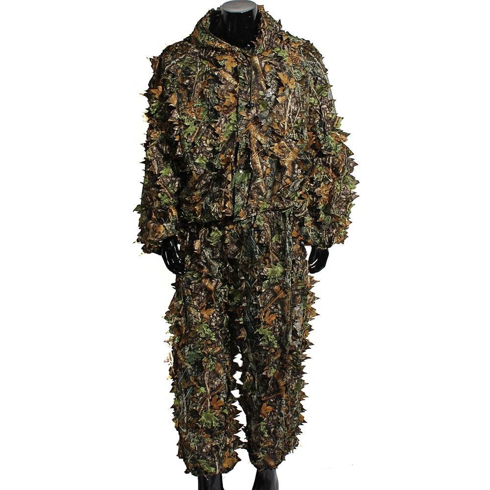 Kit de traje 3D Leafy Ghillie de francotirador del bosque Ghillie Bionic camuflaje selva caza de aves ropa al aire libre