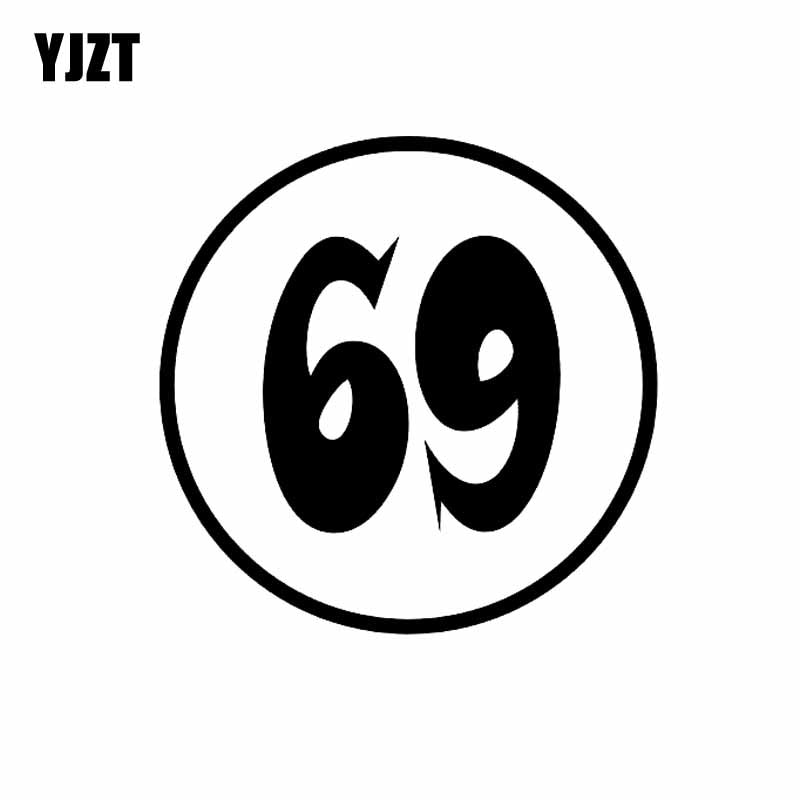 YJZT 13CM*13CM Interesting Fashion Number 69 Vinyl Car Sticker Decoration Decal Black/Silver C11-0834