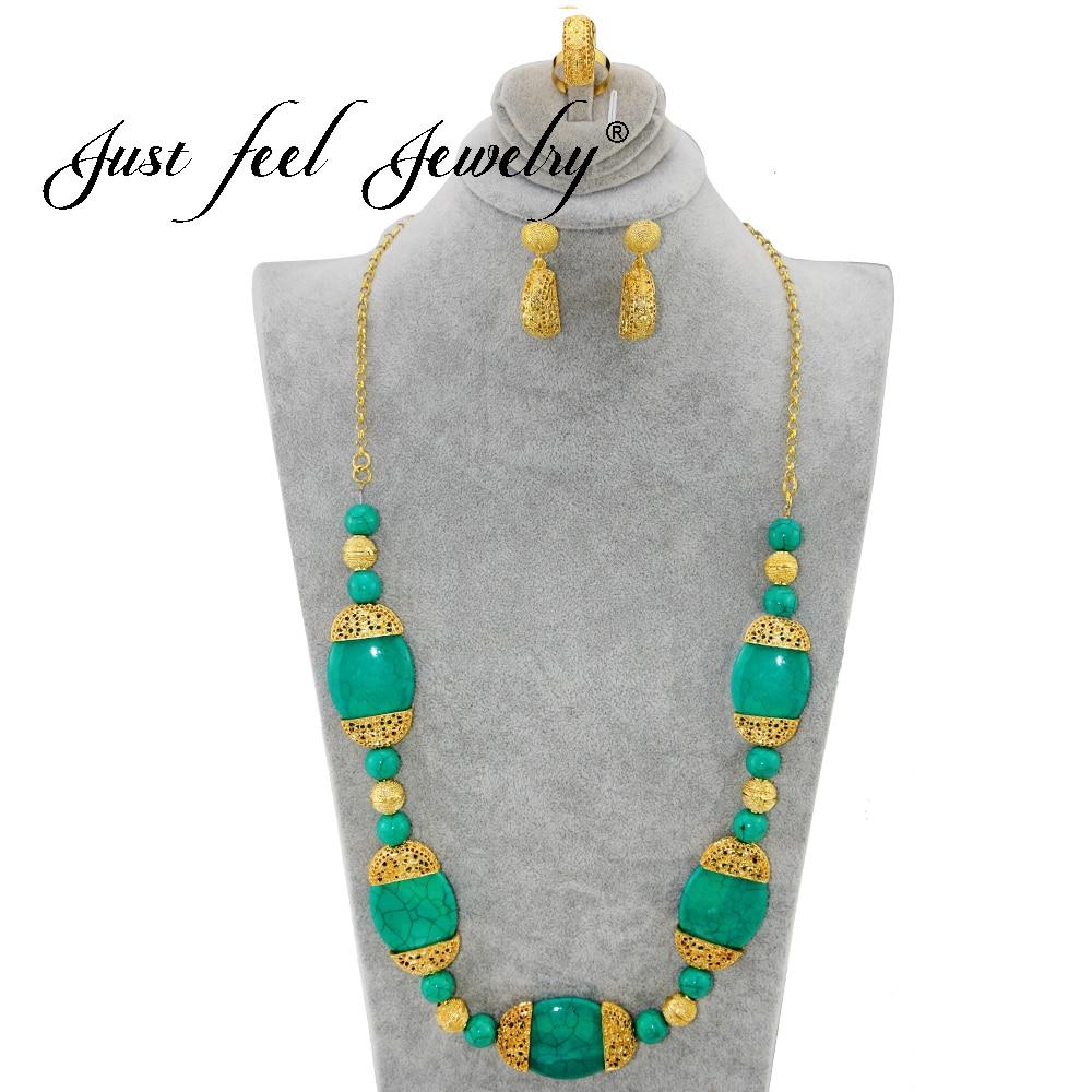 Joyas de estilo indio JUST FEEL Gold Color, piedra de mármol de imitación grande redonda, collar de joyería Vintage largo (collar, pendiente, anillo)