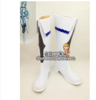 Nueva espada Art Online Cosplay zapatos Asuna Yuuki fiesta Anime botas a medida