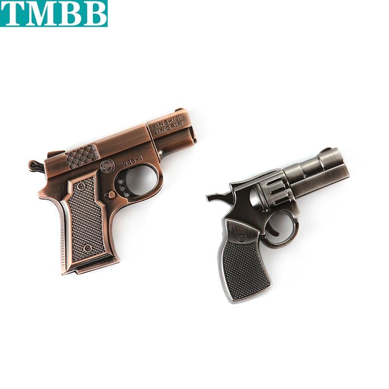 Водонепроницаемый имитация металла Серебряный медный пистолет USB флэш-накопитель пистолет-ручка привод 4 ГБ/8 ГБ/16 ГБ/32 ГБ/64 Гб/128 ГБ u-диск кар...