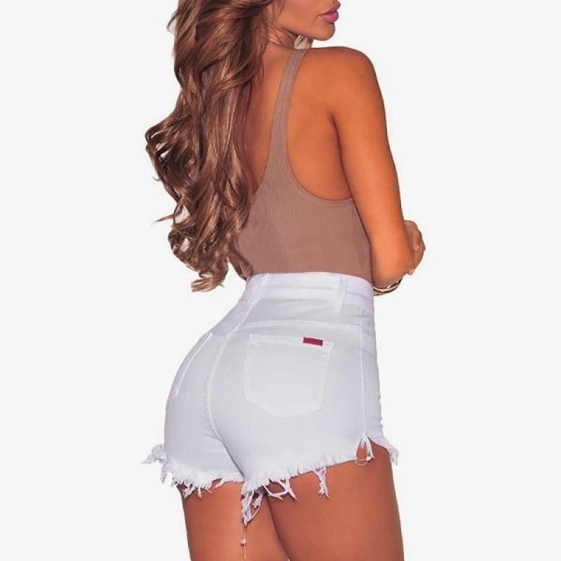 Short Femme 2019 Denim Mujer alta cintura Shorts verano mujeres Hot Feminino de talla grande botín negro y blanco pantalones cortos