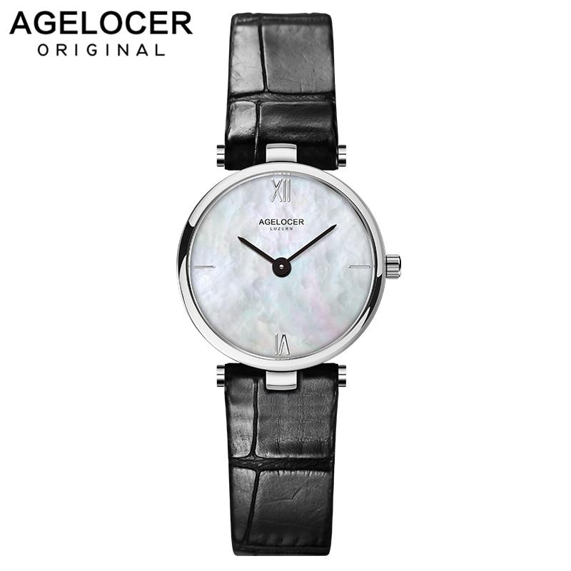Swiss Fashion Brand AGELOCER Dress Gold Quartz Watch Women Clock Female Lady Leather Strap Wristwatch Relogio Feminino Luxury