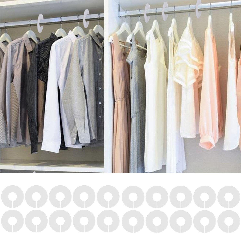 Behogar 36 шт белая вешалка для одежды Размер разделители с маркером ручка шкафа шкаф