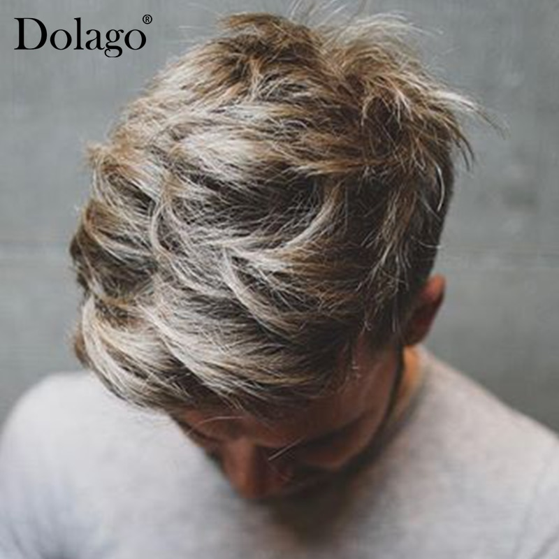 Men Toupees French Lace Front With Large Poly Side and Back Hair Replacement System Durable Hairpieces Lace & PU Blonde Dolago