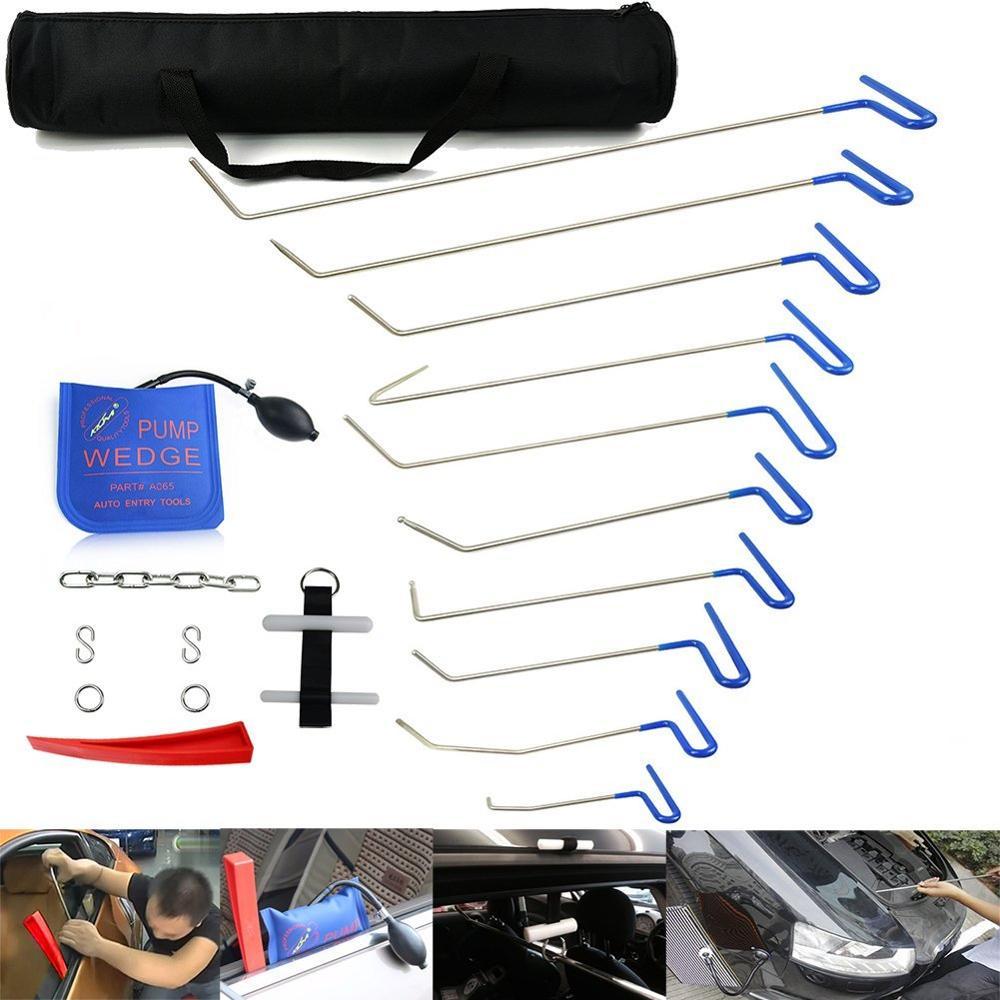 Varillas Furuix PDR herramienta de reparación de abolladuras sin pintura conjunto de eliminación de abolladuras y puerta Ding con varillas gancho coche eliminador de abolladuras de carrocería