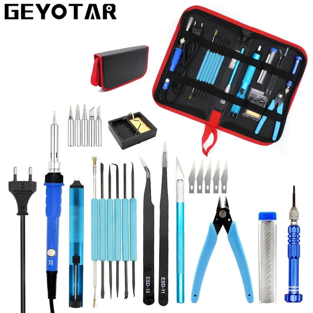 Enchufe europeo 220V 60W temperatura ajustable soldador eléctrico herramienta de reparación de soldadura portátil Bomba De desoldadura pinzas cuchillo