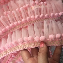 Rose/blanc cassé/rose boule rouge Mini garniture pom pom dentelle maille à volants dentelle à la main pompon boule dentelle ruban bricolage accessoires de couture