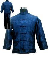 Livraison gratuite! Bleu marine hommes Polyester Satin pyjama ensembles veste pantalon vêtements de nuit vêtements de nuit taille S M L XL XXL XXXL M3020