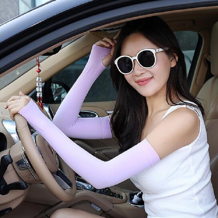 Guantes largos sin dedos de seda hielo calentador de brazo para mujer Niña Accesorios de ropa de moda wh