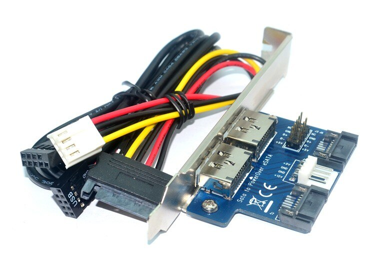 Ordenador de escritorio puerto Dual SATA a Power eSATA eSATAp 9 pin a USB 2,0 convertidor expansión tarjeta de soporte trasero