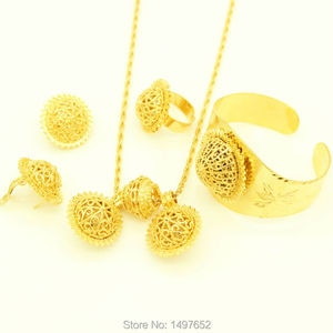 Ethiopian Women Wedding set Jewelry 24k Gold Color Pendant/ Necklace/Earrings/Bangle/Ring African Eritrea Habesha Jewelry