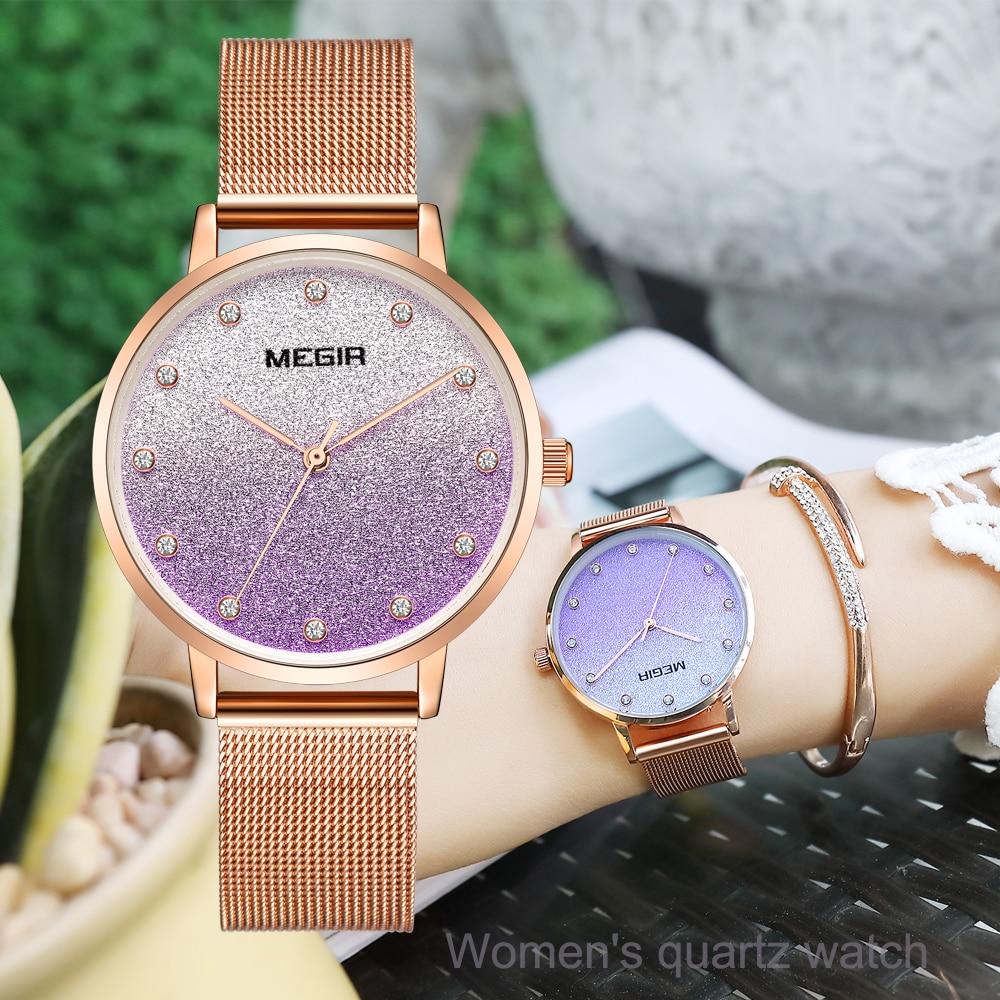 Relógios de Quartzo para Mulher Luxo à Prova Megir Inoxidável Malha Cinta Senhora Moda Dwristver Água Relógio Pulso Mulher Relógios Dom Gratuito Aço