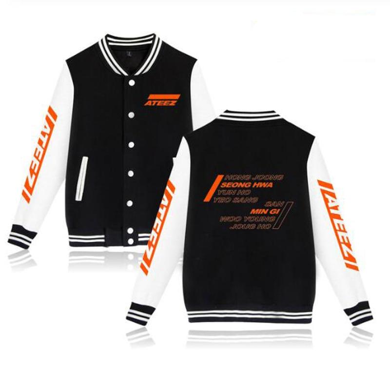 KPOP ATEEZ Album Hongjoong Seonghwa Yeosang San Mingi Wooyoung zip-up béisbol uniforme polar chaqueta mujeres hombres Sudadera con capucha