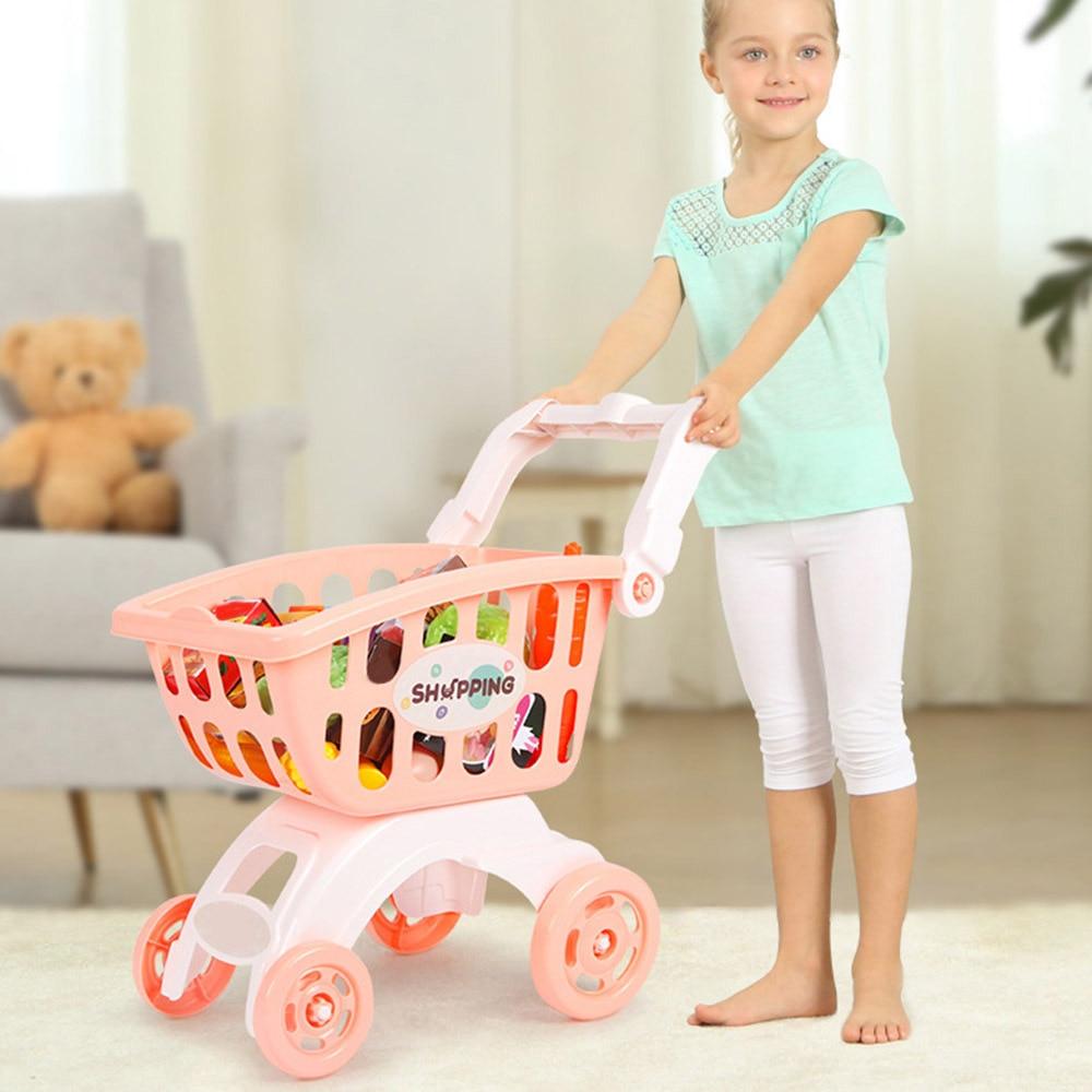 Mini carrito de compras de simulación para niños, carrito de supermercado, carrito de juguete para niños, casa de juguete de simulación, regalos para niñas y niños