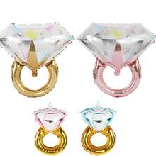 Grand or argent diamant bague feuille ballon nuptiale douche mariage fiançailles décoration gonflable ballon diamant Air ballon