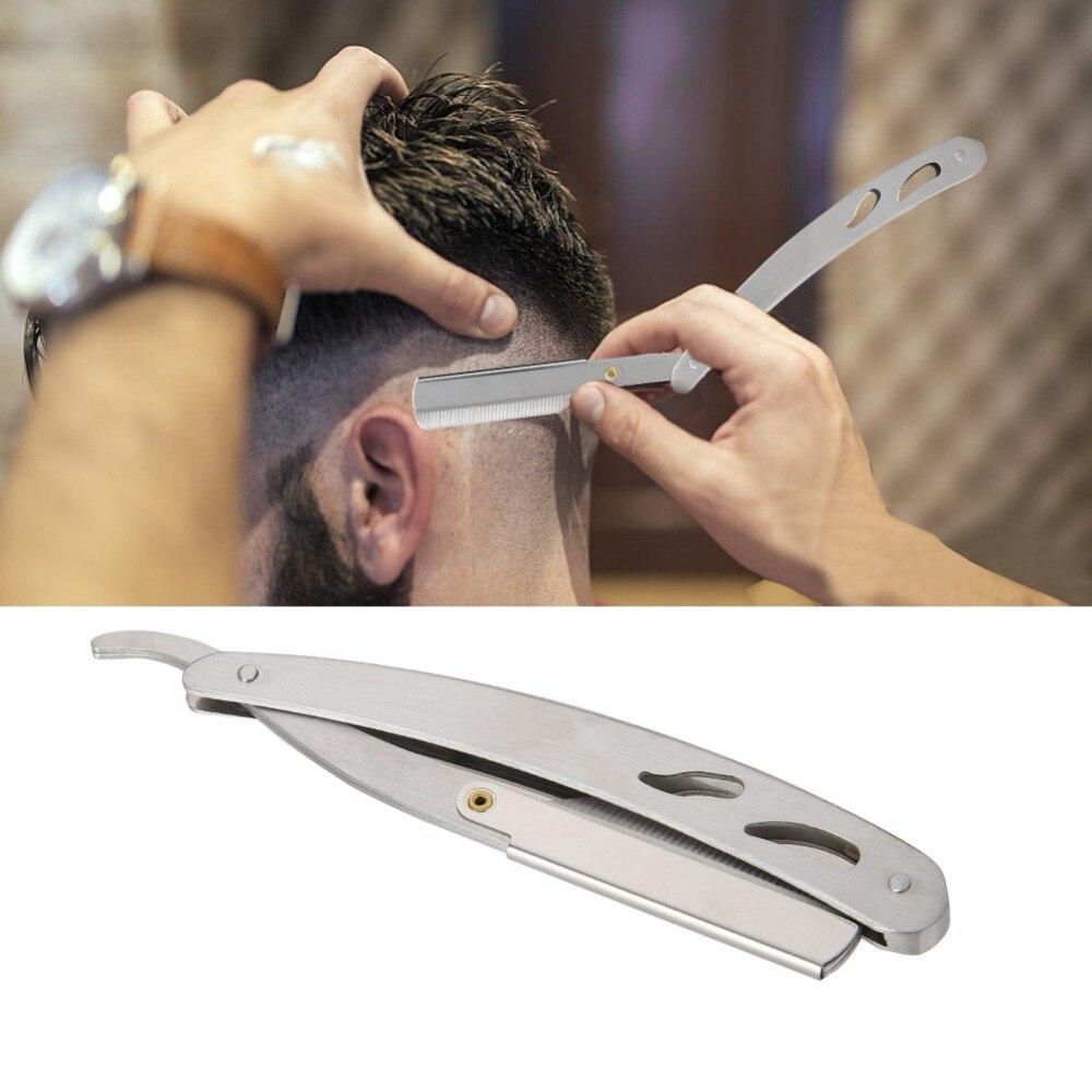Afeitadora Manual de acero inoxidable, navaja de barbero, navaja de afeitar plegable recta, cuchilla afilada reemplazable (74)