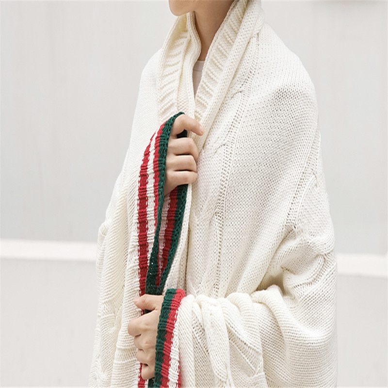 منشفة منشفة صغيرة محبوكة ، بطانية صوف ، تمتص العرق ، وتنفس ، للسفر في الهواء الطلق