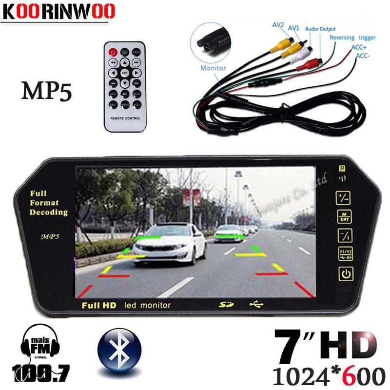 Koorinwoo 7 Zoll Auto Monitor Spiegel TFT Digital TF USB Slot Bluetooth MP5 player Für Auto radio komponente Autoradio multimidia