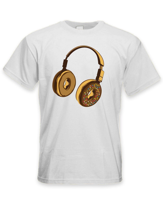 ¡Novedad de 2019! Camiseta de manga corta de algodón con auriculares Donut Dj para hombre, camiseta de vinilo para Clubbing Jungle Drum & Bass, Camiseta con cuello redondo