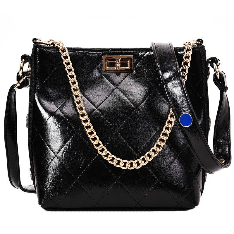 Wallike Retro Fashion Ladies Bucket Bag 2019 High Quality PU Leather Women's Designer Handbag Chain Tote Shoulder Messenger Bags