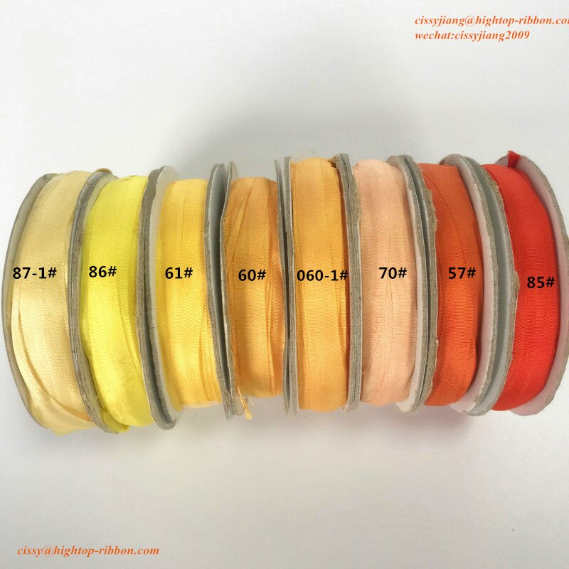 7mm mulberry silk ribbon 100% pura seda natural tafetán de raso cinta de color liso para diseños de bordado, envío gratis