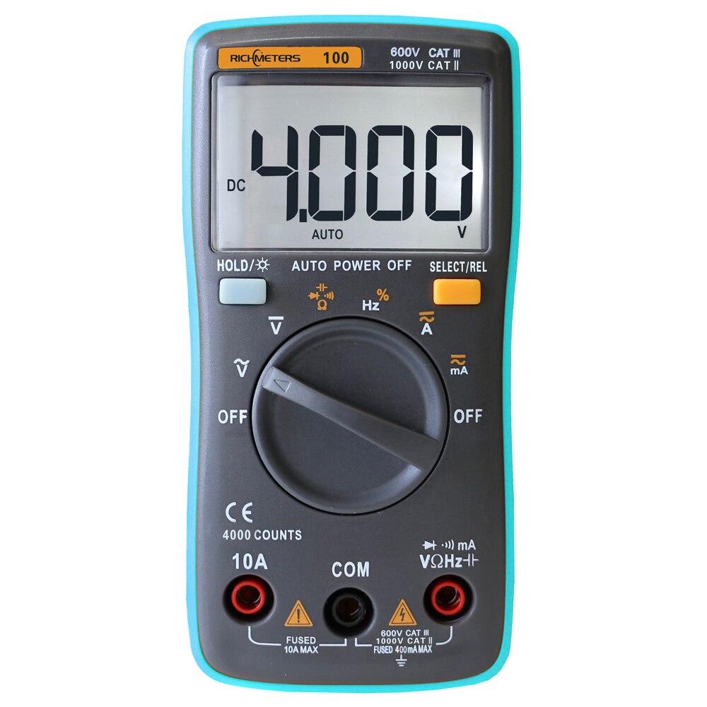 RM100 RMS Verdadeiro Multímetro DC AC Amperímetro Voltímetro Ohm DMM Capacitância Freqüência Dever Tester Polaridade Identificação Automática