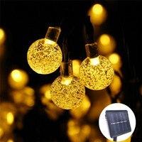 Светодиодная уличная гирлянда с лампочками в форме хрустального шара, 50 светодиодный, гирлянды на солнечной энергии садовых рождественски...