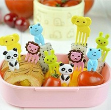 10 stks/set Dier Vruchten Vork Plastic Animal Farm Mini Cartoon Fruit Vork Teken Fruit Tandenstoker Bento Lunch Voor Kinderen