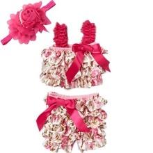 Vêtements princesse pour filles   Barboteuse en Satin, motif Floral Rose, avec bandeau de cheveux rouge, pantalon court, pour nouveau-né, à la mode
