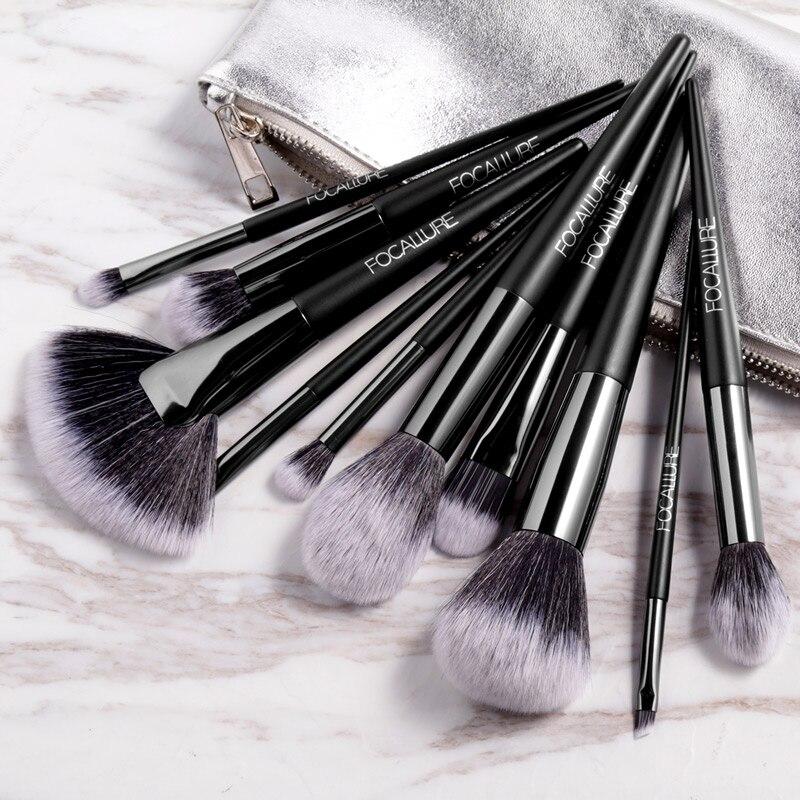 FOCALLURE 10 unids/set pinceles de maquillaje profesional Kit con sombra de ojos brocha para polvo cosmético hermoso brochas de maquillaje