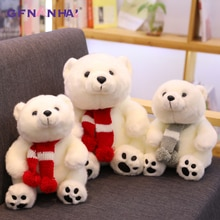 1pc 15/26/36CM kawaii Scarf Polar Bear Plush Toys Lovely High Quality Stuffed Soft Animal Bear Doll Children Baby Birthday Gifts