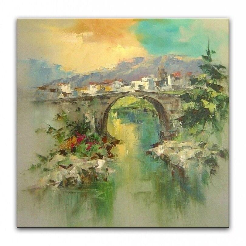 Pintados à Mão Pintura a Óleo Pintura da Lona Casa Decoração Faca Pintura Paisagem Imagens Dm16112616