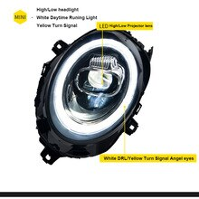 Car For 2013-2018 Mini F56 cooper headlights For F56 ALL LED head lamp Angel eye led DRL front light Bi-led Lens dynamic turn
