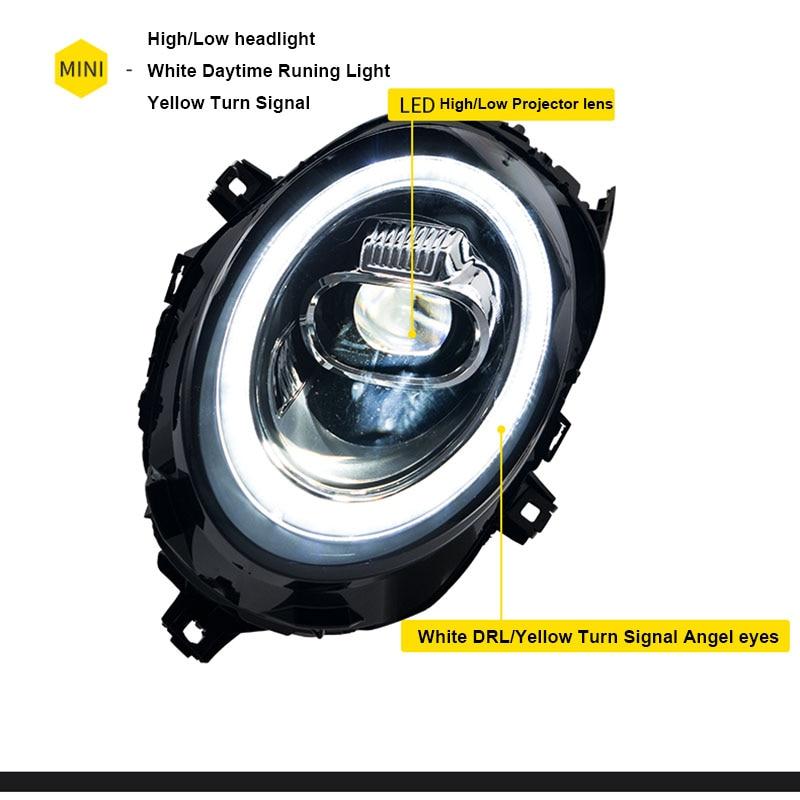 Coche para 2013-2018 Mini F56 cooper faros para F56 todo linterna LED para cabeza Ojo de Ángel led DRL luz delantera bi-led lente giro dinámico