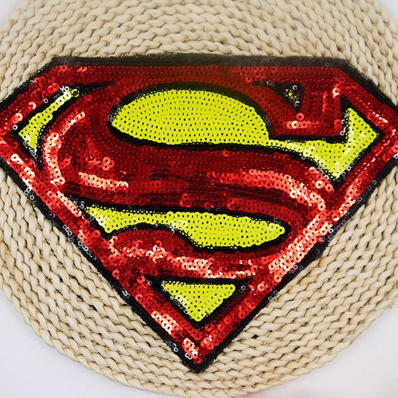 Патч Супермена, блестки, шитые, вышивка, ткань, аппликация, знак, ткань, одежда, шитье, поделки, сделай сам