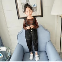dfxd 2018 spring baby girl clothes set fashion long sleeve striped shirtjeans overall 2pc girls outfits princess toddler sets