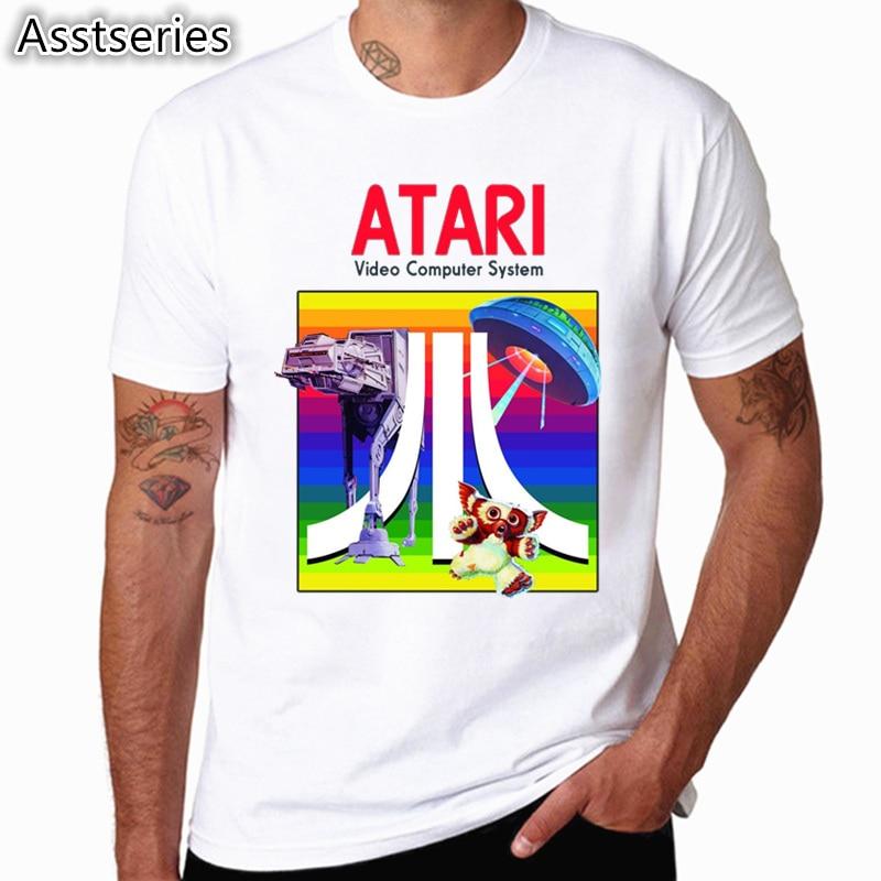 Футболка с короткими рукавами и принтом Atari, футболка для любителей аркадных игр, футболка большого размера для мужчин на весну и лето, футболки HCP4555