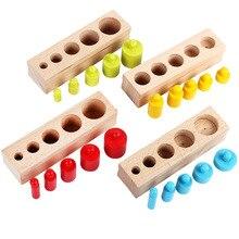 Recién Llegados, juguetes Montessori para niños, juego colorido de cilindros de zócalo, bloques de madera de haya Multicolor, juguetes educativos para enseñanza de matemáticas temprana